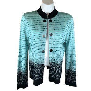 Ming Wang Black Green Stripe Cardigan Sweater L